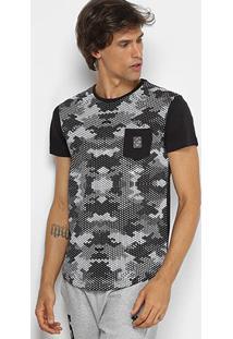 Camiseta Rg 518 Alongada Estampa Camuflada Masculina - Masculino-Preto
