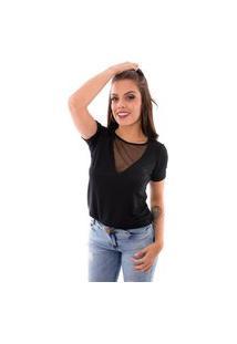Blusa Up Side Wear Decote Transparente Preta