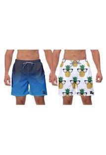 Kit 2 Shorts Moda Praia Azul Branco Estampado Abacaxi Caminhada Vôlei Banho Água Surf W2