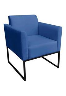 Poltrona Decorativa Base Industrial Preto Maressa S22 Suede Azul Royal