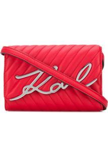 Karl Lagerfeld Bolsa Transversal Com Logo - Vermelho