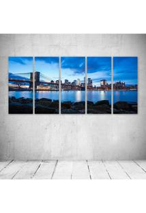 Quadro Decorativo - Brooklyn Bridge Blue Sky Buildings - Composto De 5 Quadros