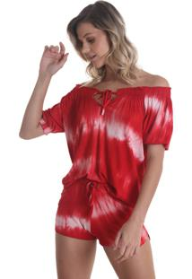 Shorts Curto Com Bolso Tie Dye - Vermelho - Líquido