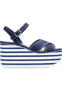 Miu Miu Sandália Plataforma - Azul