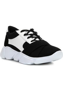 ad64f1df863 ... Tênis Couro Shoestock Chunky Sneaker Neoprene Feminino - Feminino-Preto+ Branco