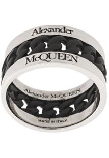 Alexander Mcqueen Anel Com Logo De Letras - Prateado