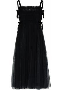 Molly Goddard Vestido Com Detalhe Franzido E Amarração - Preto