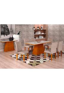 Conjunto De Mesa De Jantar Luna Com 6 Cadeiras Ane I Linho Imbuia E Branco