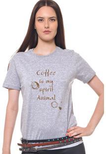 Camiseta Feminina Joss Coffee Marrom Cinza Mescla