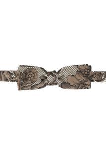 Dolce & Gabbana Gravata Borboleta De Jacquard Floral - Marrom