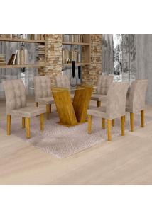 Conjunto De Mesa De Jantar Classic Com 6 Cadeiras Vitória Veludo Ypê