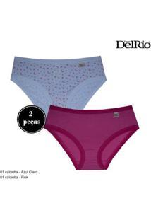 Kit 2 Calcinhas Delrio Miss Feminina - Feminino-Azul+Pink
