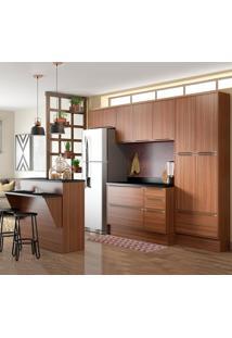 Cozinha Compacta 13 Portas C/ Bancada E Rodapé 5464R Nogueira/Malt - Multimóveis