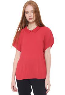 Camisa Lacoste Reta Plissada Vermelha