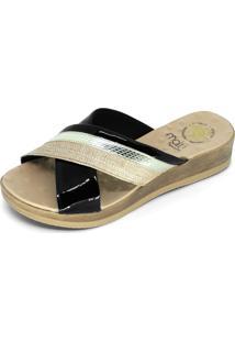 Sandália Malu Super Comfort Trançado Preto