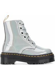 Dr. Martens Ankle Boot Molly Com Amarração - Prateado