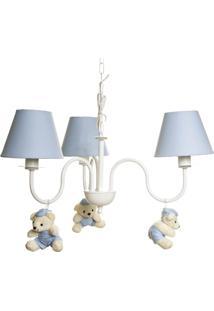 Lustre 3L Simples Com 3 Ursinhos De Boné Bebê Infantil Potinho De Mel Azul - Kanui