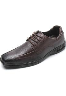Sapato Social Couro Pegada Bico Quadrado Marrom