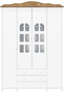 Guarda-Roupa 4 Portas Provence Branco E Teka Matic
