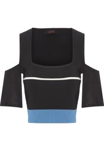 Blusa Feminina Tricot Cropped Listra - Preto