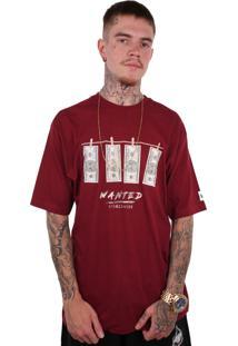 Camiseta Wanted Ind Dollar Vinho