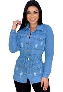 Jaqueta Parka Jeans Destroyed Com 4 Bolsos - Ewf Jeans - Azul Claro