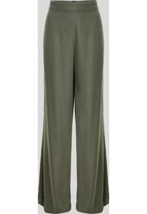 Calça Feminina Mindset Pantalona Cintura Alta Verde Militar