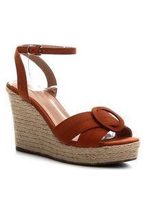Sandália Couro Shoestock Anabela Entrelaço Feminina