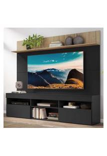 "Rack Com Painel Tv 65"" Madri Multimóveis E Prateleira Preto/Rustic"