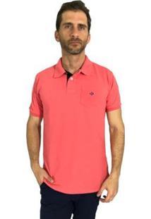 Camisa Polo Mister Fish Slim Com Bolso Goiaba Masculina - Masculino-Coral