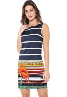Vestido Desigual Curto Listras Azul-Marinho/Branco