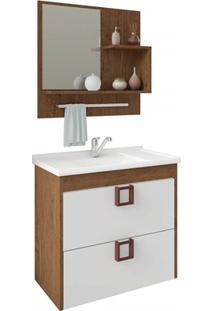 Gabinete Suspenso Para Banheiro Lírio 56X59Cm Amêndoa E Branco