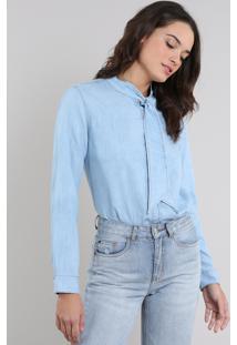 Camisa Jeans Feminina Mindset Manga Longa Gola Laço Azul Claro