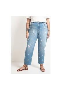 Calça Mom Jeans Com Bordados De Flores Margaridas Curve & Plus Size | Ashua Curve E Plus Size | Azul | 54