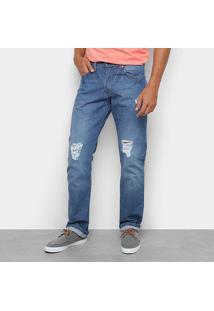Calça Jeans Reta Wrangler Detalhe Rasgos Cintura Média Masculina - Masculino-Azul Claro