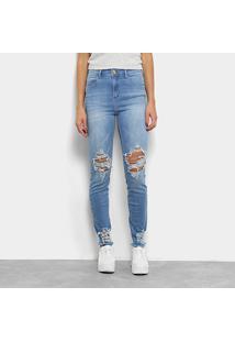 Calça Jeans Skinny Coca-Cola High Destroyed Cintura Alta Feminina - Feminino-Azul