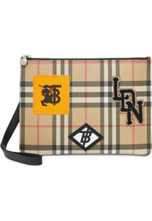 Burberry Logo Graphic Vintage Check E-Canvas Zip Pouch - Neutro