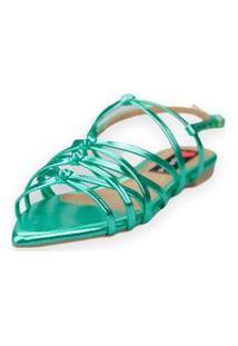 Sandalia Love Shoes Rasteira Bico Folha Trançado Metalizado Verde