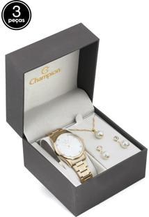 Kit 3Pçs Relógio Champion Cn25664D Dourado