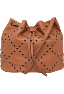 Bolsa Saco Butterfly Ilhós Caramelo