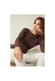 Blusa Modal Cashmere Ultralight Decote Canoa - Marrom G
