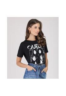 Blusa Feminina De Banda Queen Manga Curta Decote Redondo Preta