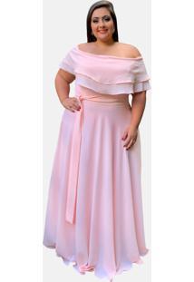 Vestido Longo Tnm Collection Plus Size Ciganinha Ombro A Ombro Madrinha Rosa Ch㡠- Rosa/Ros㪠- Feminino - Dafiti