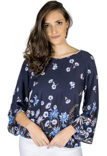 Blusa Estampa Floral Handbook Feminino - Feminino-Azul