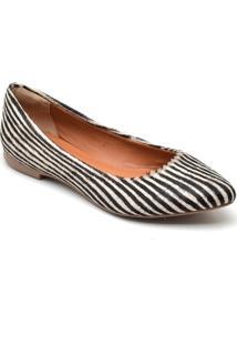 Sapatilha Feminina Estampada Zebra Bico Fino Casual Conforto Branco - Branco - Feminino - Couro - Dafiti