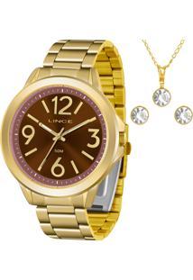 Kit Relógio Lince Feminino Com Colar E Brincos Lrgh089Lkv52N2Kx