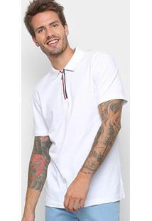 Camisa Polo Forum Detalhe Zíper Masculina - Masculino-Branco
