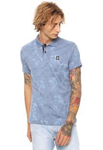 Camisa Polo Fatal Reta Floral Azul