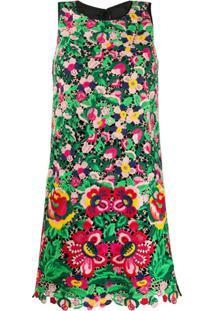 Paule Ka Vestido Reto Com Crochê Floral - Verde
