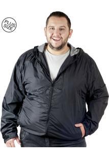Jaqueta Plus Size Bigshirts Corta Vento - Preta